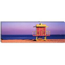 <strong>iCanvasArt</strong> Lifeguard Hut, Miami Beach, Florida Canvas Wall Art