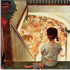 """Little Girl Looking Downstairs at Christmas Party"" Canvas Wall Art by Norman Rockwell"