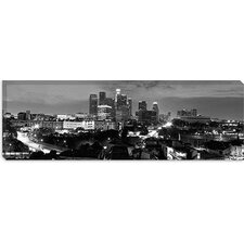 <strong>iCanvasArt</strong> Los Angeles Panoramic Skyline Cityscape (Black and White - Night) Panoramic Canvas Wall Art