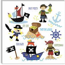"<strong>iCanvasArt</strong> ""Pirates and Ships"" Canvas Wall Art by Erin Clark"