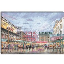 "<strong>iCanvasArt</strong> ""Pike Place Market"" Canvas Wall Art by Stanton Manolakas"