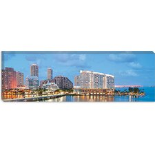 <strong>iCanvasArt</strong> Miami Panoramic Skyline Cityscape Evening Canvas Wall Art