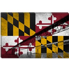 <strong>iCanvasArt</strong> Maryland Flag, Chesapeake Bay Bridge, Ocean Grunge Canvas Wall Art