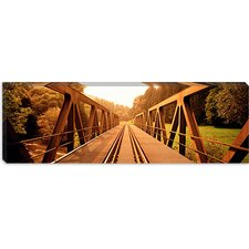 <strong>iCanvasArt</strong> Railroad Tracks and Bridge Germany Canvas Wall Art