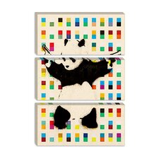 <strong>iCanvasArt</strong> Panda with Guns Dots Canvas Wall Art