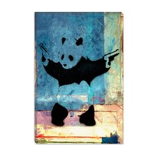 <strong>iCanvasArt</strong> Panda with Guns Blue Square Canvas Wall Art