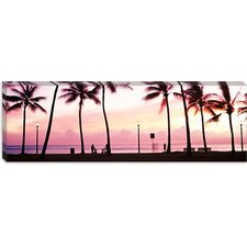 <strong>iCanvasArt</strong> Palm Trees on the Beach, Waikiki, Oahu, Hawaii Canvas Wall Art