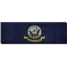 <strong>iCanvasArt</strong> Navy Flag, Metal Rivet Panoramic Canvas Wall Art