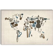 "<strong>iCanvasArt</strong> ""Musical Instruments Map of the World"" Canvas Wall Art by Michael Thompsett"
