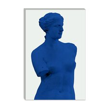 <strong>iCanvasArt</strong> Venus de Milo Blue Modern Canvas Wall Art