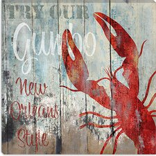 "<strong>iCanvasArt</strong> ""New Orleans Seafood"" Canvas Wall Art by Color Bakery"
