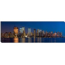 <strong>iCanvasArt</strong> New York Panoramic Skyline Cityscape (Night) Canvas Wall Art