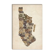 "<strong>iCanvasArt</strong> ""New York Typographic Map III"" Canvas Wall Art by Michael Thompsett"