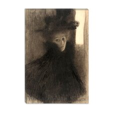 """Portrait of a Lady with Cape and Hat"" Canvas Print by Gustav Klimt"