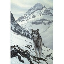 "<strong>iCanvasArt</strong> ""Winter Crossing - Wolf"" Canvas Wall Art by Ron Parker"