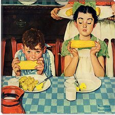 "<strong>iCanvasArt</strong> ""Who's Having More Fun (Kids Eating Corn)"" Canvas Wall Art by Norman Rockwell"