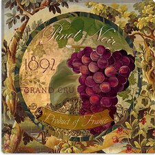 "<strong>iCanvasArt</strong> ""Wines of France (Grape)"" Canvas Wall Art by Color Bakery"