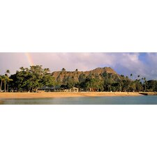 <strong>iCanvasArt</strong> Hawaii, Oahu, Honolulu, Diamond Head St. Park, View of a Rainbow over a Beach Resort Canvas Wall Art