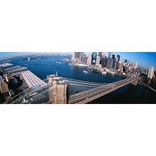 <strong>iCanvasArt</strong> New York, Brooklyn Bridge, Aerial Canvas Wall Art