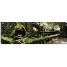 <strong>iCanvasArt</strong> Statue of a Monkey in a Temple, Bathing Temple, Ubud Monkey Forest, Ubud, Bali, Indonesia Canvas Wall Art