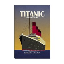 "<strong>iCanvasArt</strong> ""Titanic Ocean Liner Art Deco"" Canvas Wall Art by Michael Thompsett"