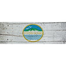 <strong>iCanvasArt</strong> Staten Island Flag, Wood Planks Panoramic Canvas Wall Art