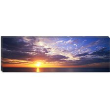 <strong>iCanvasArt</strong> Sunset, Water, Ocean, Caribbean Island, Grand Cayman Island Canvas Wall Art