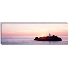 <strong>iCanvasArt</strong> Sunset, Godrevy Lighthouse, Cornwall, England, United Kingdom Canvas Wall Art