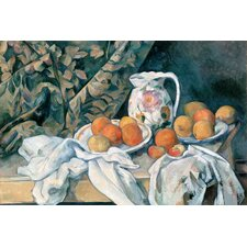"""Still Life with a Curtain 1895"" Canvas Wall Art by Paul Cezanne"
