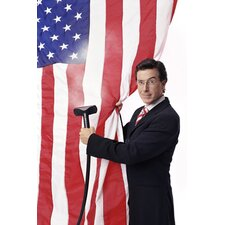 <strong>iCanvasArt</strong> Stephen Colbert American Flag Canvas Wall Art