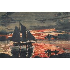 "<strong>iCanvasArt</strong> ""Sunset Fires 1880"" Canvas Wall Art by Winslow Homer"