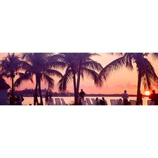 <strong>iCanvasArt</strong> Sunset on the Beach, Miami Beach, Florida Canvas Wall Art