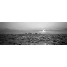 <strong>iCanvasArt</strong> Sunset over a City, Chicago, Illinois Canvas Wall Art