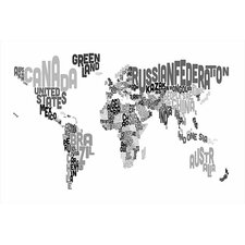 "<strong>iCanvasArt</strong> ""Typographic Text World Map V"" Canvas Wall Art by Michael Thompsett"