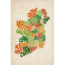 """Text Map of Ireland VI"" Canvas Wall Art by Michael Thompsett"