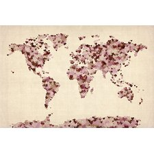 "<strong>iCanvasArt</strong> ""Vintage Hearts World Map"" Canvas Wall Art by Michael Thompsett"