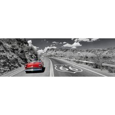 <strong>iCanvasArt</strong> Vintage Car Moving on the Road, Route 66, Arizona Canvas Wall Art