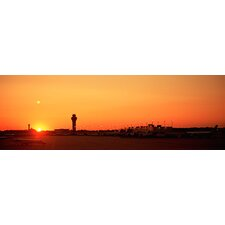 <strong>iCanvasArt</strong> Sunset over An Airport, O'Hare International Airport, Chicago, Illinois Canvas Wall Art
