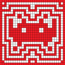 Space Invader - Red Invader Aura Tile Art (Red and White) Canvas Wall Art