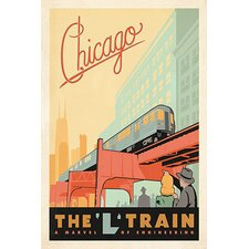'The L Train - Chicago, Illinois' by Anderson Design Group Vintage Advertisment on Canvas