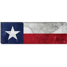Texas Flag, Map Panoramic Canvas Wall Art