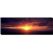 Sunset over the Sea, Aegina, Saronic Gulf Islands, Attica, Greece Canvas Wall Art