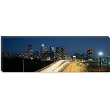 <strong>iCanvasArt</strong> Traffic Moving on a Road, Philadelphia, Pennsylvania Canvas Wall Art