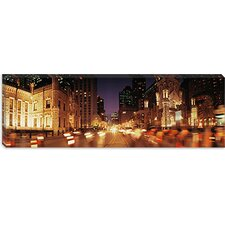 <strong>iCanvasArt</strong> Traffic on the Road at Dusk, Michigan Avenue, Chicago, Cook County, Illinois Canvas Wall Art