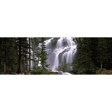 <strong>iCanvasArt</strong> Waterfall in a Forest, Banff, Alberta, Canada Canvas Wall Art