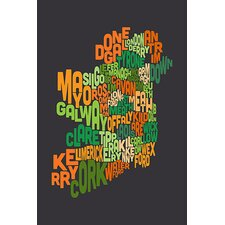 """Text Map of Ireland"" Canvas Wall Art by Michael Thompsett"