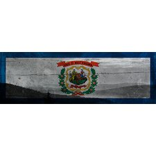 West Virginia Flag, Snowshoe Mountain with Wood Planks Panoramic Canvas Wall Art