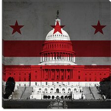 <strong>iCanvasArt</strong> Washington, D.C, Flag, Capitol Building with Grunge Canvas Wall Art