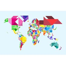 "<strong>iCanvasArt</strong> ""Tangram Abstract World Map"" Canvas Wall Art by Michael Thompsett"