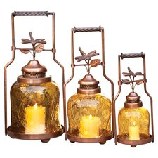 3 Piece Dragonfly Lantern Set